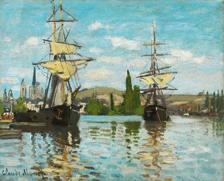 Ships Riding On The Seine At Rouen Print