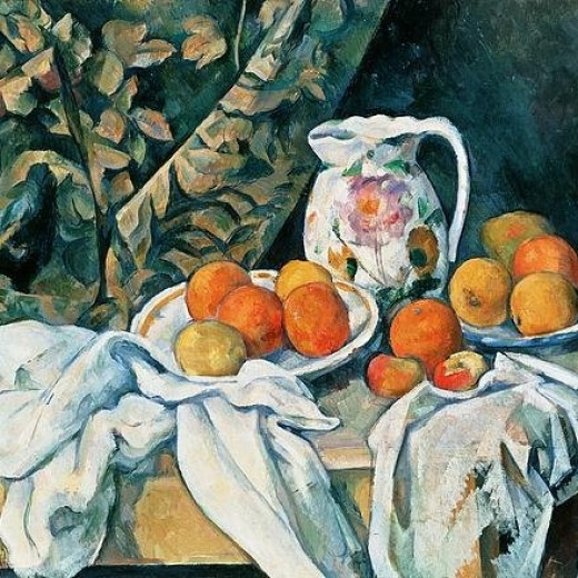 Still Life With Fruit Curtain And Flowered Pitcher Print