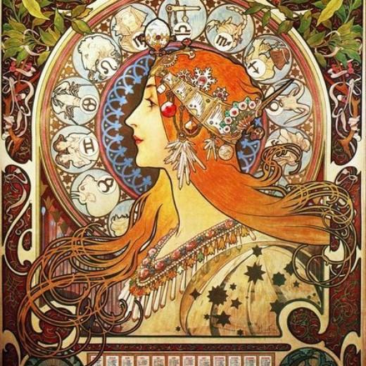Alphonse Mucha La Plume Zodiac