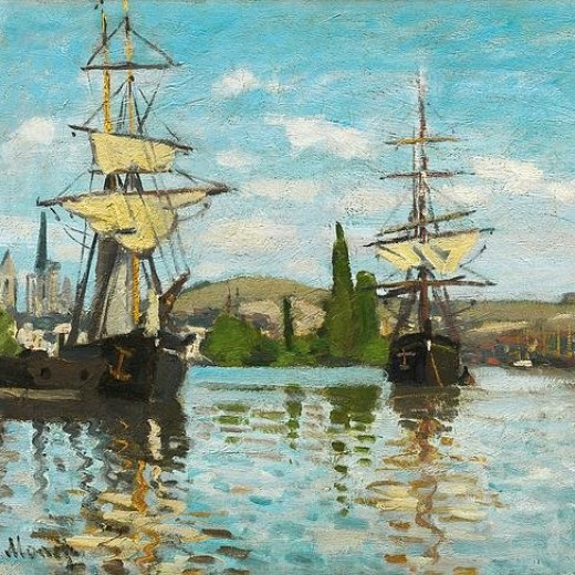 Ships Riding On The Seine At Rouen Print