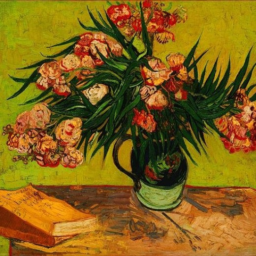 Vase With Oleanders And Books Print